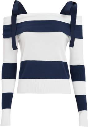 ADEAM Stripe Tie Shoulder Sweater