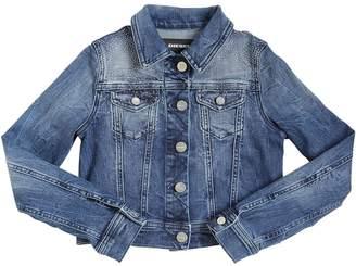 Diesel Cotton Denim Jacket W/ Crystals