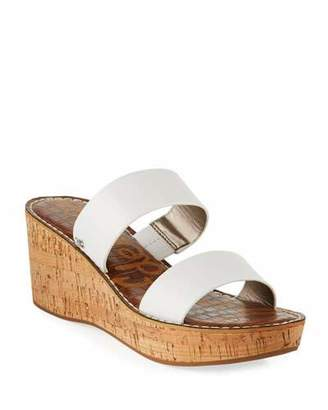 Sam Edelman Rydell Cork-Wedge Leather Sandals, White