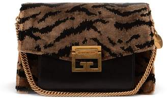 Givenchy Gv3 Small Velvet And Leather Cross Body Bag - Womens - Black Grey