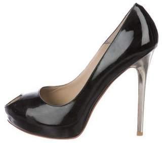 Alexander McQueen Patent Leather Peep-Toe Pumps