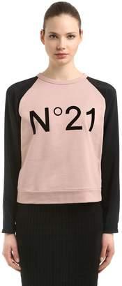 N°21 Logo Jersey & Crepe De Chine Sweatshirt