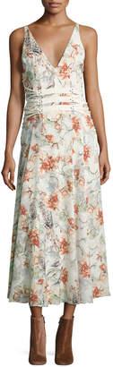 Haute Hippie Heliopolis Sleeveless A-Line Floral-Print Dress w/ Corset