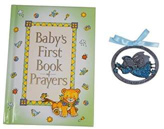 CA Baby's First Book of Prayers and 2 1/2X1-Inch Guardian Angel Crib Medal Blue Ribbon