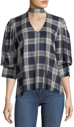 Waverly Grey Trixie Peek-a-Boo Plaid Top