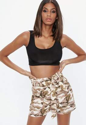 Missguided Camo Tie Waist Shorts