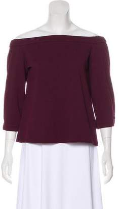 Tibi Off-the-Shoulder Long Sleeve Top