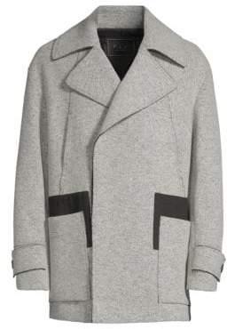P.L.C. Men In Silhouette Asymmetric Wool-Blend Coat