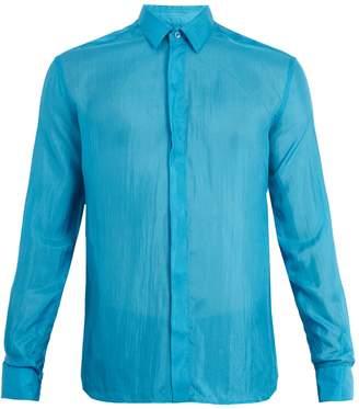 Saint Laurent Point-collar silk shirt