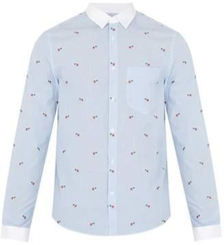 Gucci Striped Cotton Poplin Shirt - Mens - Light Blue