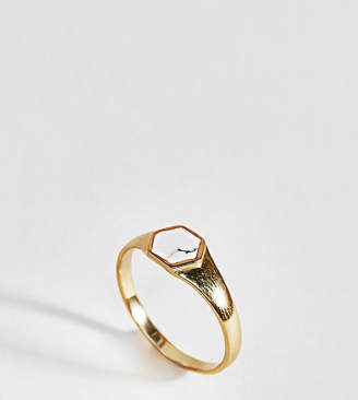 Asos Design Gold Plated Sterling Silver Faux Marble Stone Sovereign Ring