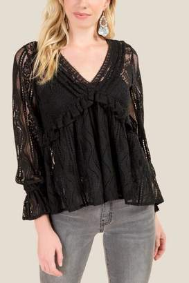 francesca's Delia Ruffled Lace Blouse - Black