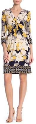 London Times Floral Twist Front Dress