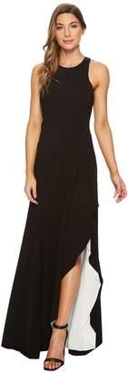 Halston Sleeveless Round Neck Asymmetrical Gown Women's Dress
