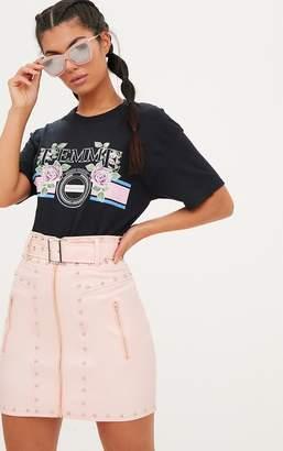 PrettyLittleThing Black Femme Slogan Rose Oversized T Shirt
