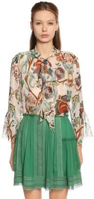 Alberta Ferretti Khadi Floral Print Silk Chiffon Blouse