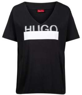 HUGO Boss Relaxed-fit T-shirt in cotton sparkly logo print XS Black
