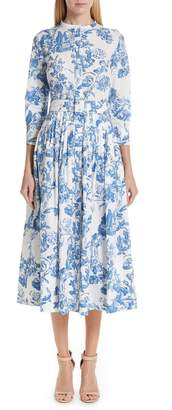 Oscar de la Renta Toile Print Stretch Poplin Shirtdress