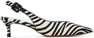 Blue Bird Shoes leather Zebra slingback pumps