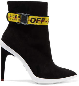 Off-White - Grosgrain-trimmed Suede Ankle Boots - Black $1,230 thestylecure.com