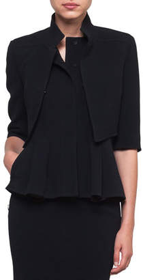Akris Mock-Neck Wool-Stretch Short Jacket