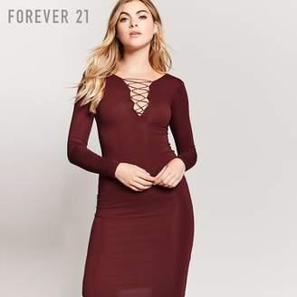 Forever 21 (フォーエバー 21) - レースアップタイトワンピース