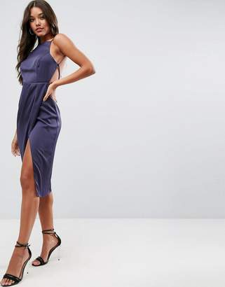 Asos Design Drape Back Delicate Backless Midi Dress