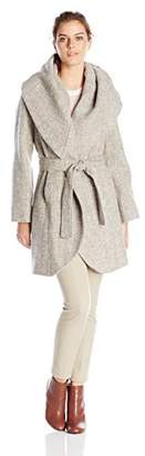 T Tahari Women's Marla Tweed Wrap Coat