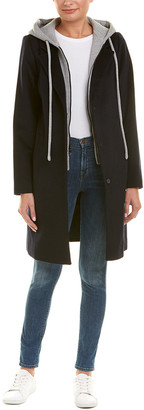 Rachel Roy Wool-Blend Hoodie Coat