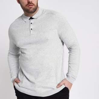 River Island Big and Tall grey long sleeve knit polo shirt