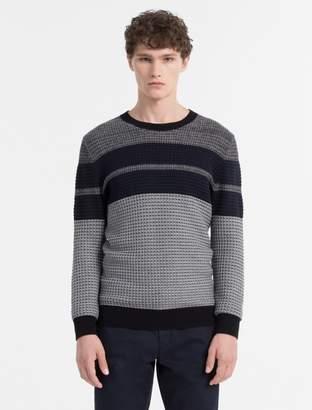 Calvin Klein textured stripe crewneck sweater