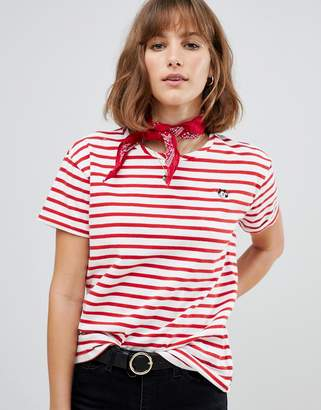 Maison Scotch Stripey T-Shirt with Felix The Cat Embroidery