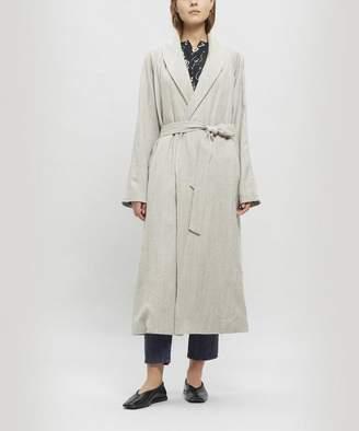 Pas De Calais Long Lapel Coat With Waist Tie