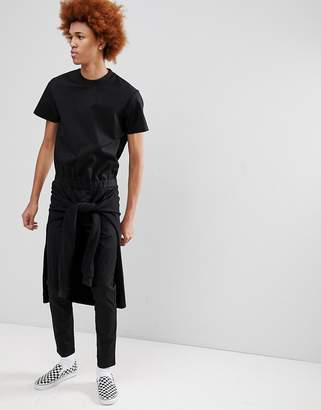 Asos DESIGN Skinny Short Sleeve Boilersuit With Tie Waist In Black