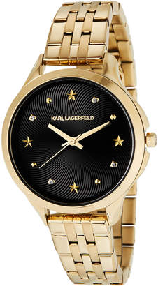 Karl Lagerfeld 38mm Karoline Bracelet Watch, Gold/Black