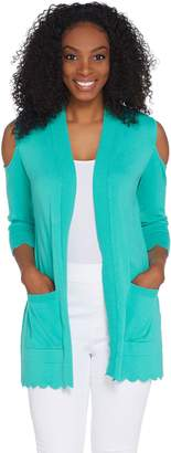 Isaac Mizrahi Live! Cold Shoulder Cardigan with Scallop Hem