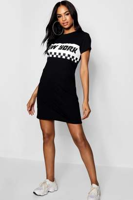 boohoo Tall New York Motocross Slogan T-Shirt Dress