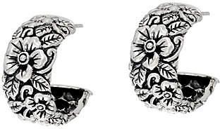 JAI Sterling Silver Carved Floral Hoop Earrings