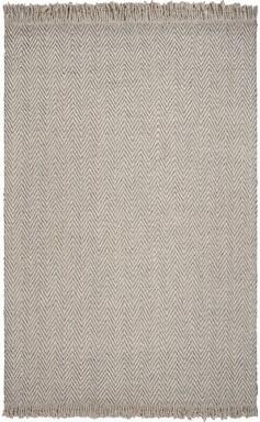 Hogan Gracie Oaks Herringbone Hand-Woven Wool Oatmeal Area Rug Gracie Oaks
