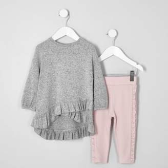 River Island Mini girls grey frill top and leggings outfit