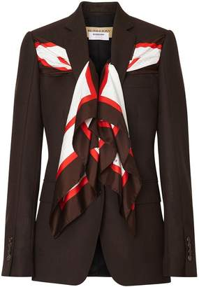 Burberry Silk Scarf Detail Wool Tailored Jacket