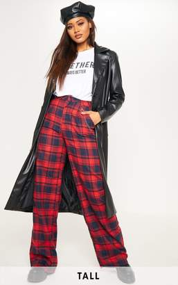 PrettyLittleThing Tall Red Tartan Wide Leg Trouser