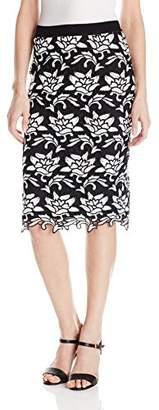 BCBGMAXAZRIA Women's Sascha Cutwork-Hem Pencil Skirt