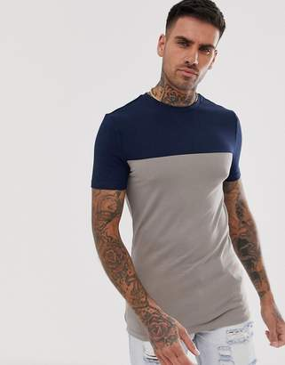 510ea7b52 BEIGE Asos Design ASOS DESIGN muscle t-shirt with stretch and contrast yoke  in