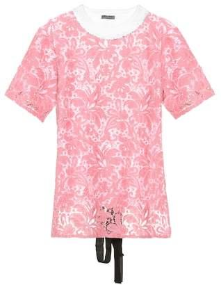 Miu Miu Lace cotton T-shirt