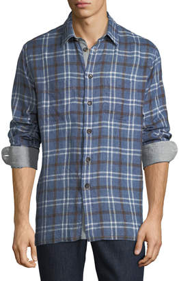 Luciano Barbera Men's Madras-Plaid Linen Button-Front Shirt