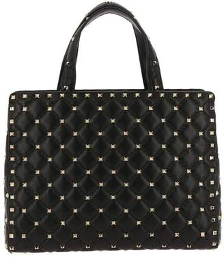 Valentino GARAVANI Handbag Rockstud Spike Shopping Bag In Genuine Quilted Leather With Double Handles And Removable Shoulder Strap