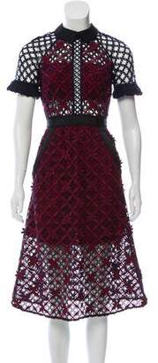 Self-Portrait Crocheted Point-Collar Midi Dress
