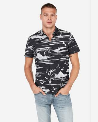 Express Slim Short Sleeve Bird Scene Shirt