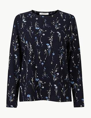 M&S Collection Floral Print Round Neck Long Sleeve Top